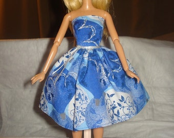 Blue & silver abstract print party dress for Fashion Dolls  -  ed510