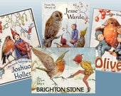 A Winter Collection - Margaret Tarrant - ADHESIVE -   Personalized Bookplates - Elves - robins - Owls
