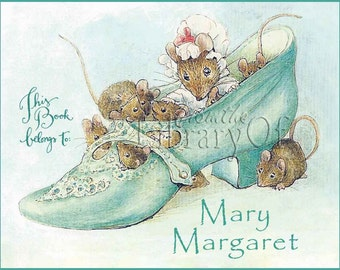 There was An Old Woman Who Lived in a Shoe - Beatrix Potter -Adhesive Bookplate - Lovely Baby Gift