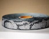 "WHOLESALE PRICE 10 YDs x 1"" Black and Brown Snake Pattern Printed Grosgrain"