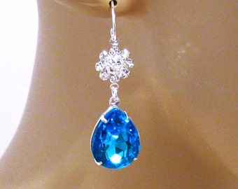 Swarovski Wedding Jewelry, Blue, Aqua Earrings, Special Occasion, Blue