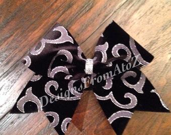 Black Swirl Sparkle Cheer Bow