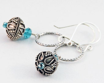 Sterling silver Bali bead Czech glass turquoise dangle link summer beach earrings
