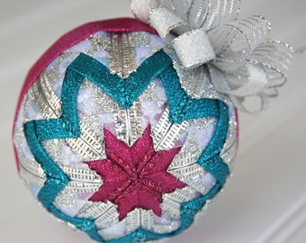 Quilted Christmas Ornament Ball/Silver, Pink and Turquoise - Silvery Glow