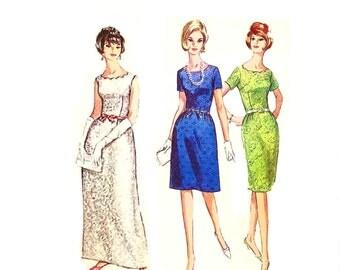 Vintage 1960s Evening Gown Pattern Uncut Size 12 Bust 32 Simplicity 6028