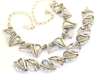 Vintage 1960s Silver Sarah Coventry Set Windsong Necklace Bracelet