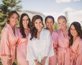 Satin bridesmaid robe, CORAL, bridesmaid dressing gown, personalized robes, silk bridesmaids robes, silk floral robe, kimono dressing gown