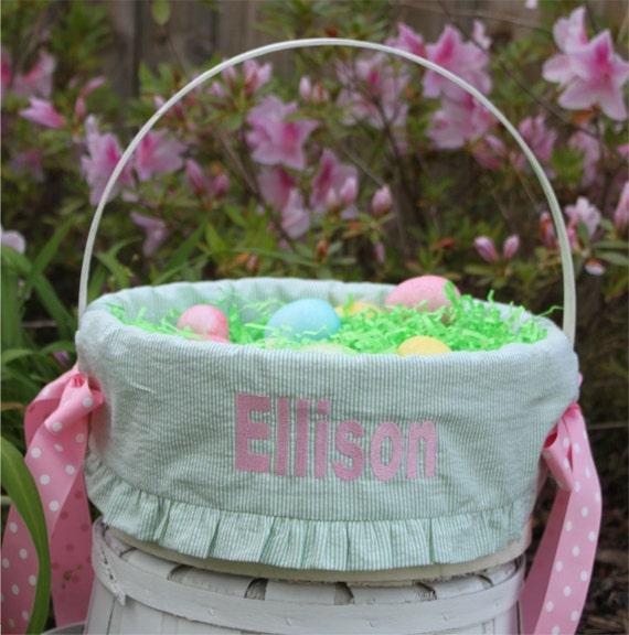 Monogrammed Easter Basket Liner Includes Basket Personalized