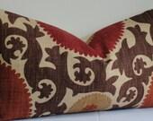 Designer Fahri SUZANI pillow cover -LONG LUMBAR -Decorative pillow cover - Throw pillow - brown - rust - red - tan - accent pillow-lumbar