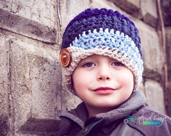 Baby Toddler Child Tween Teen Adult Mulit color Texture Beanie with Handmade Wood Button and flip up brim in Navy, Denim,t Blue and Linen