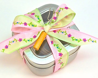 Flower Seed Tape- Poppies, Forget me Nots, Sweet Alyssum for Container Gardening, Flower Garden Seed Tape, Flower Seed Paper Strips, Tin