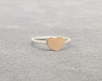 Gold Heart Ring, Chubby Heart Ring, Gold Filled Heart RIng, Heart Stacking Ring, Sterling SIlver Heart Ring, Sterling SIlver Stacking RIngs
