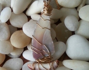 SALE. Shell Sailboat Necklace, Wire Wrapped, Redondo Beach & Kauai Shells