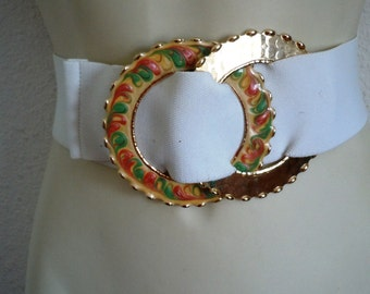 Vintage White stretch Belt Double metal ring buckle Floral and Gold Elastic Belt