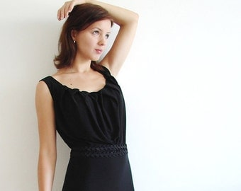 Little Black Dress with Pleated Neckline and Free Custom Made Sash Belt