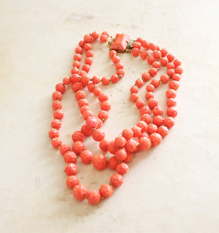 Vintage Plastic Rose Necklace Triple Strand Coral Color