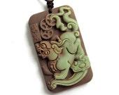 Two Layer Natural Stone Pi-Xiu Dragon Ru-Yi Amulet Charm Pendant Good Luck 44mm x 26mm  ZP050