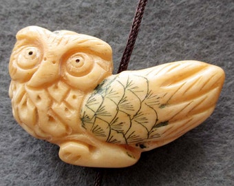 Ox Bone Engraved Owl Pendant Bead 33mm x 20mm  T2375
