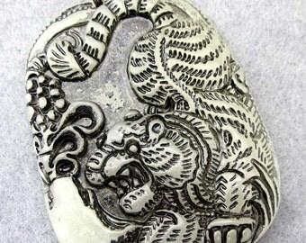 Xiuyan Stone Charm Good Luck Tiger Amulet Talisman Bead Pendant 48mm x 36mm  T2413
