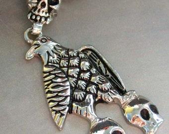 Alloy Metal Pendant With Eagle Hawk Three Skull Head Charm Bead 60mm x 34mm  T1302