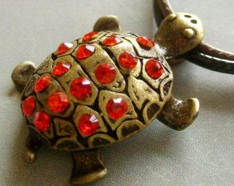 Long Life Longevity Turtle Pendant Jewelry Figurine Acrylic Diamond Alloy Metal 30mm x 22mm  T1480