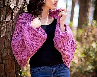 Versatile Knit Shrug, Radiant Orchid Knit Shawl, Over Sized Shrug, Versatile Knit Scarf