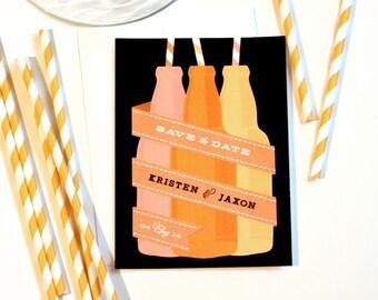 Soda Pop Save the Date - Soda Bottles - Striped Paper Straws - Printable