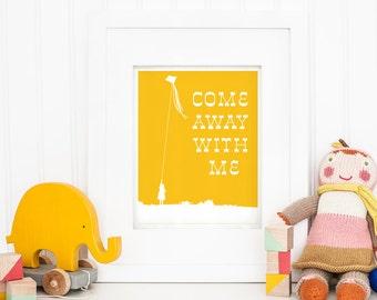11 x 14 Nursery Art Print - Come Away With Me