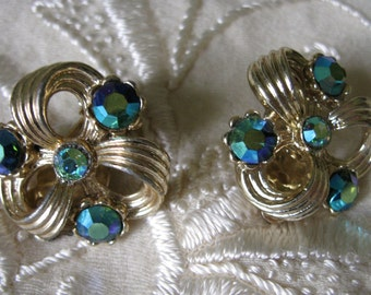 Vintage Lisner Gold and Green Blue AB Rhinestone Clip Earrings