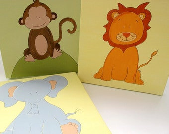 Kids wall art- 3 paintings- Jungle bunch- elephant, lion and monkey- green and yellow wall decor on canvas, children decor