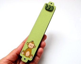 Mezuzah Case green monkey wooden mezuzah for children babies  jewish unique gift
