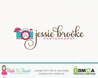 Custom Premade Camera Logo Flower Logo Photography Logo Hand Drawn Small Business Branding Logo