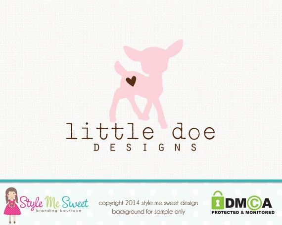 Deer Logo Design Doe Logo Design Baby Logo Design Birth Logo Design Graphic Design Premade Logo Design Sewing Logo Design Fabric Shop Logo