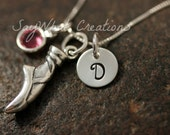 Sterling Silver Mini Initial Hand Stamped Ballet Slipper Ballerina Dance Necklace