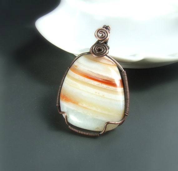Striped carnelian necklace, tangerine copper jewelry, stone pendant, handmade pendant