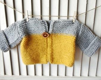 Baby Sweater, Newborn Sweater, Baby Pullover, Handknit Baby Sweater, Grey, Mustard Yellow, Children Clothing Wood Button