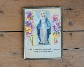 Vintage Holy Mary Religious Iconography Framed Print
