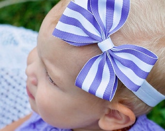 ANY COLOR Striped Grosgrain Baby Pinwheel Boutique Headband Bow  Pick Your Color
