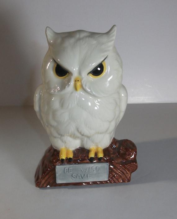 Ceramic Owl Bank Piggy Bank Vintage 70s By Strokesofmadness