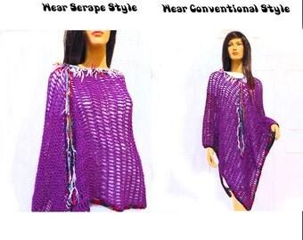 Long Womens Poncho, Boho poncho, Plus size poncho, Funky poncho, Serape poncho, Crochet poncho, Shawls, Poncho, Boho Fashion,Boho