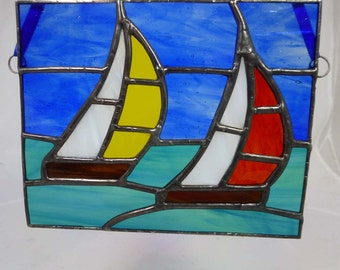 Stained glass sailing boats on ocean sun catcher MTO