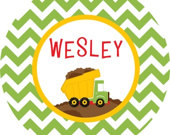 Personalized Dump Truck Construction Melamine Plate
