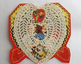 Vintage Valentine's Day Card paper lace doily and scrap little boy and girl heart shaped folding with envelope