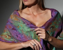 Dyed Silk Scarf For Womens Hand Marbled Purple and Green Silk Scarf -  Mardi Gras