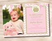 Little Pumpkin Pink and Gold Chevron 1st 2nd 3rd Birthday Photo Party Invitation Printable diy Customizable