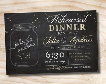 50 PRINTED WITH ENVELOPES Mason Jars Fireflies Rehearsal Dinner, Couples Shower, Engagement Party Invitation