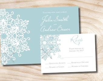MODERN SNOWFLAKE Wedding Invitation/Response Card - 100 Professionally Printed Invitations & Response Cards