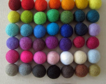 3cm Wool Felt Balls up to 30 balls - Your Choice of Colors