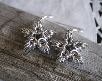 Chainmail star earrings, maille stars