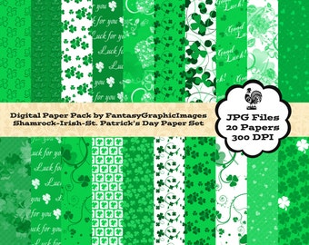 Irish Shamrock Digital Paper Pack - St. Patrick's Day - 20 Papers - Printable Scrapbooking - Instant Download